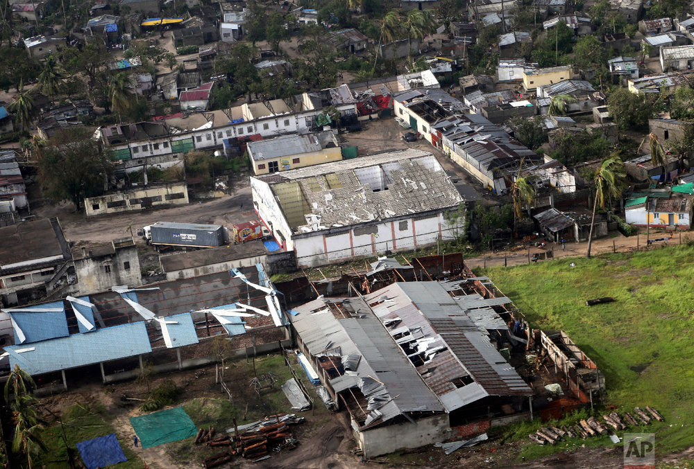 An aerial view part of damaged city in Beira, Thursday, March 21, 2019. (AP Photo/Themba Hadebe)