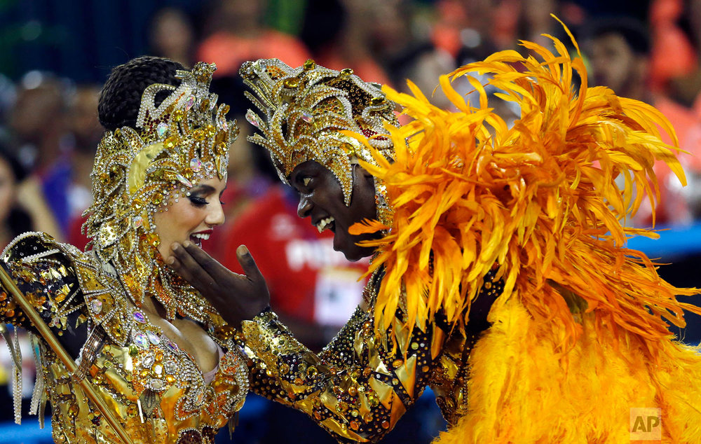 In this March 4, 2019 photo, performers from the Salgueiro samba school parade during Carnival celebrations at the Sambadrome in Rio de Janeiro, Brazil. (AP Photo/Silvia Izquierdo)