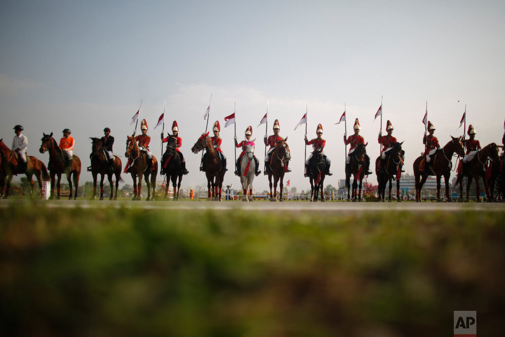 Nepalese Cavalry soldiers rehearse for the Ghode Jatra festival on April 5, 2019, in Kathmandu, Nepal. (AP Photo/Niranjan Shrestha)