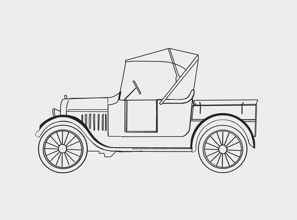 OUR LOGO - See the real 1923 Ford Model T which inspired our hand drawn logo.