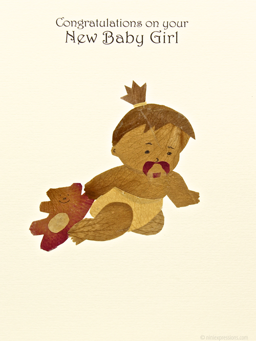 Crawling baby nini expressions hand made organic eco friendly crawling baby nini expressions greeting card new born baby girl m4hsunfo