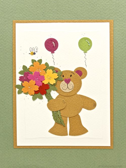 Bear with flowers nini expressions hand made organic eco friendly nini expressions greeting cards birthday for kids bear m4hsunfo