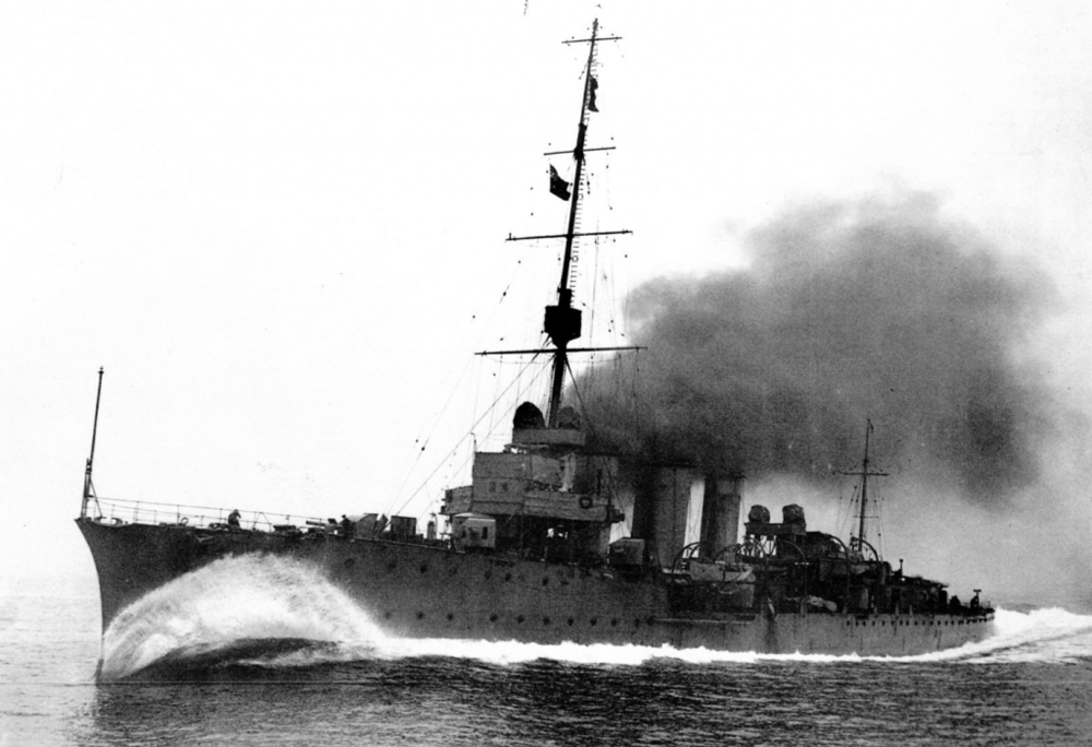 HMS Caroline during active operations. Source: www.nmrn.org.uk