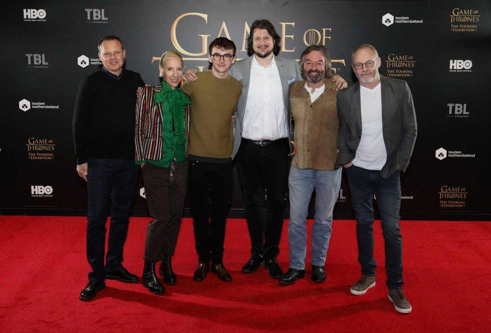(L-R) Robin Stapley (GES), Michele Clapton (Game of Thrones costume designer), Isaac Hempstead Wright (Game of Thrones – Bran Stark), Jeff Peters (HBO), Ian Beattie (Game of Thrones – Ser Mervyn Trant), Liam Cunningham (Game of Thrones – Davos Seaworth)