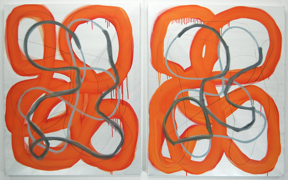 """Electrolytes"", diptych, 2015, oil and graphite on linen, 40 x 32 inches"