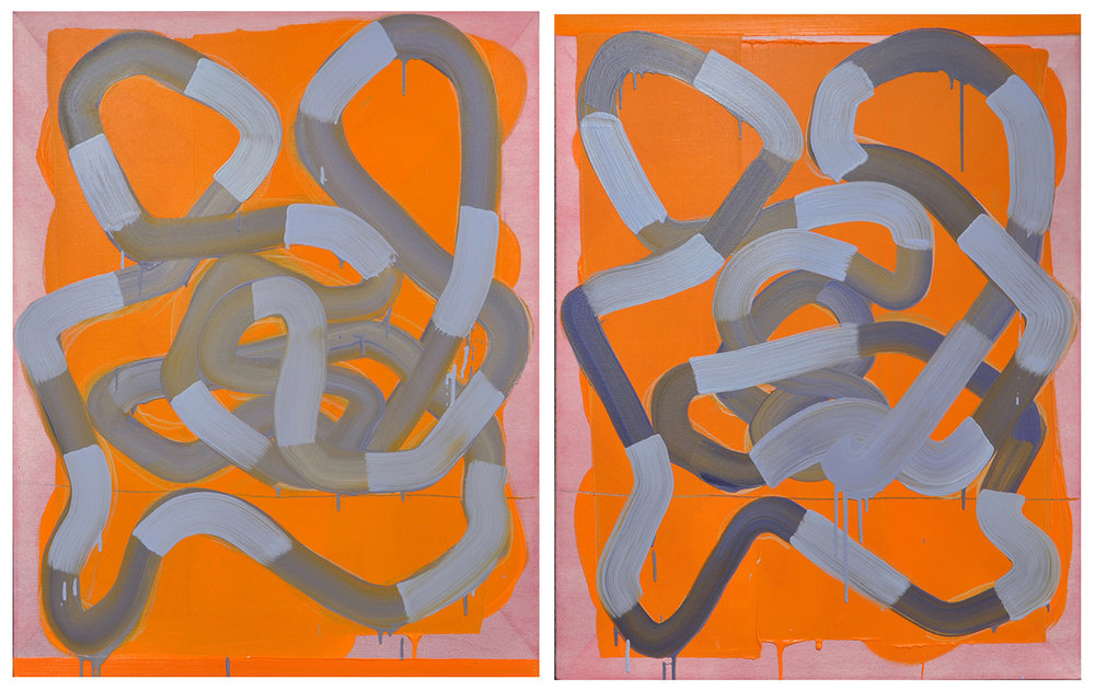 """Salt Peanuts"", diptych, 2016, oil and graphite on linen, 40 x 66 inches"