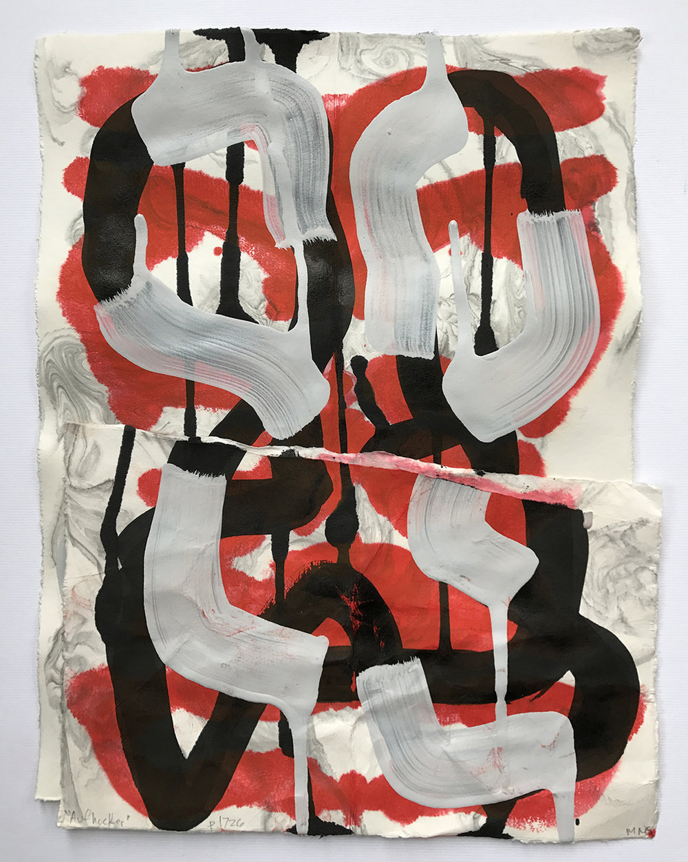 Aufhocker p1726, 2017, acrylic, ink, and collage on paper, 14 x 10.5 inches