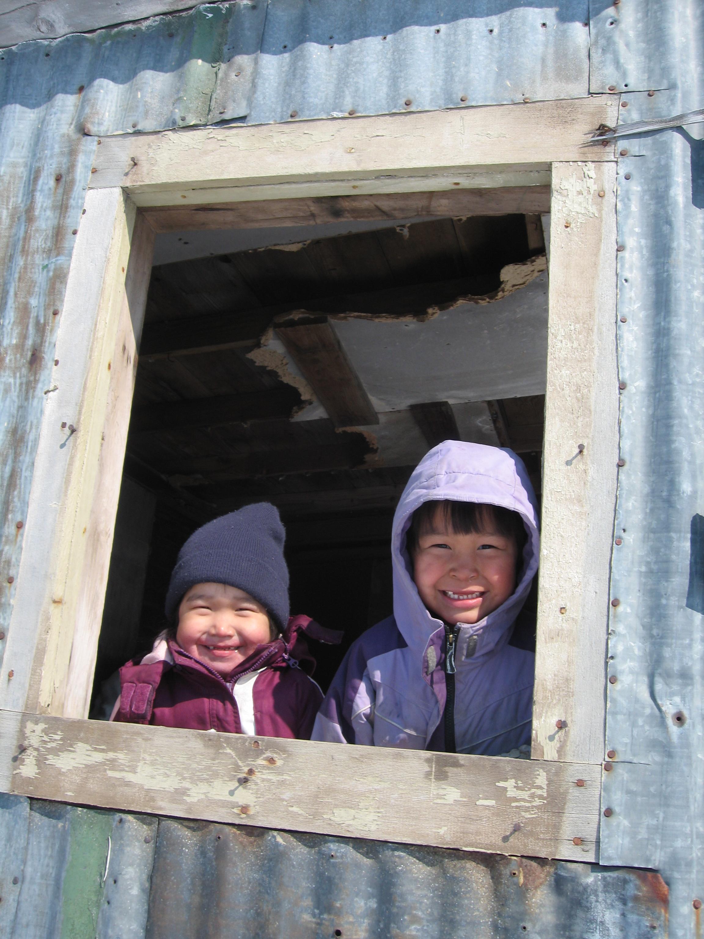 Kids in Chevak greet Matt and crew.