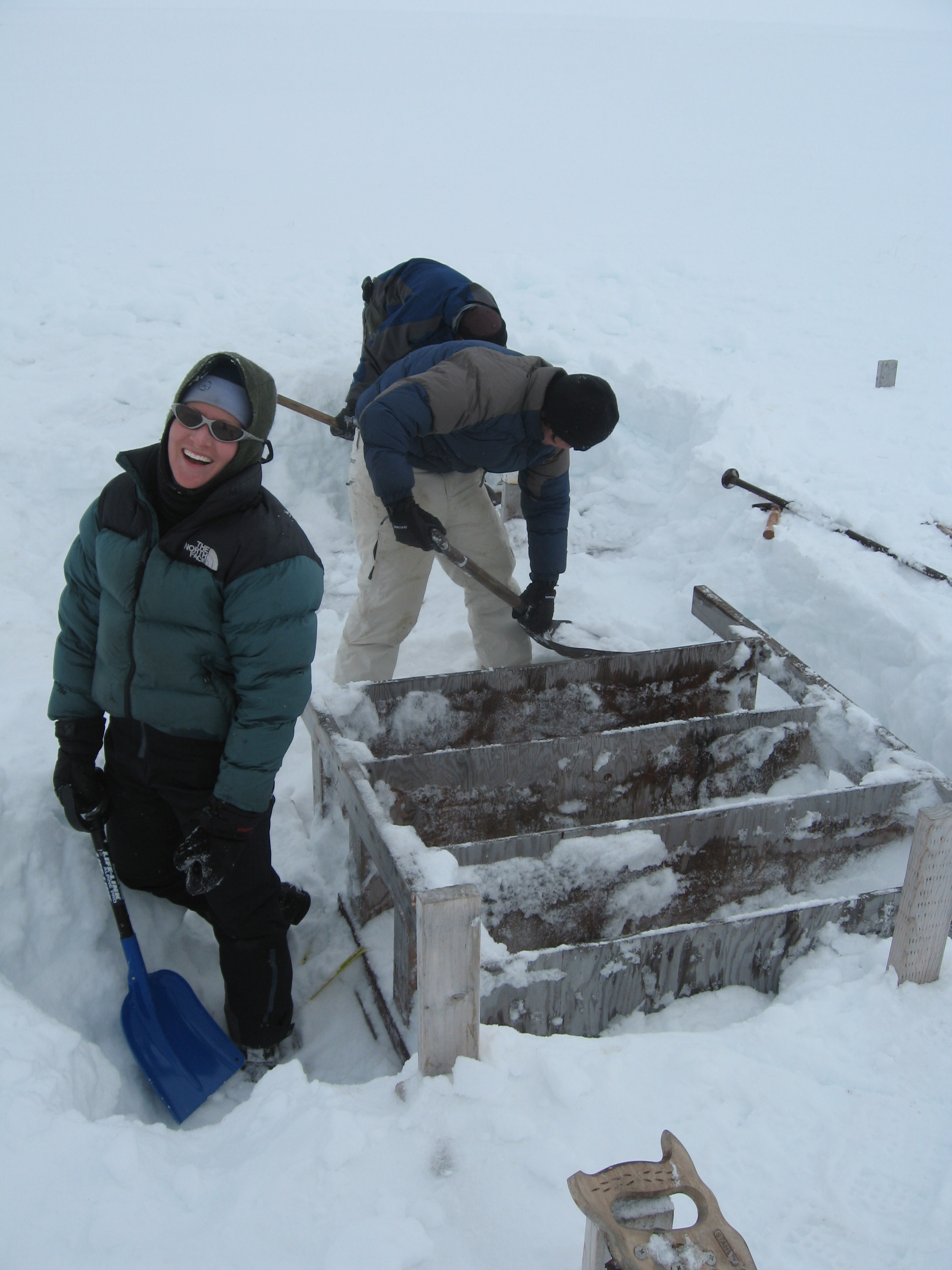 Mandy Van Dellen digs out camp.
