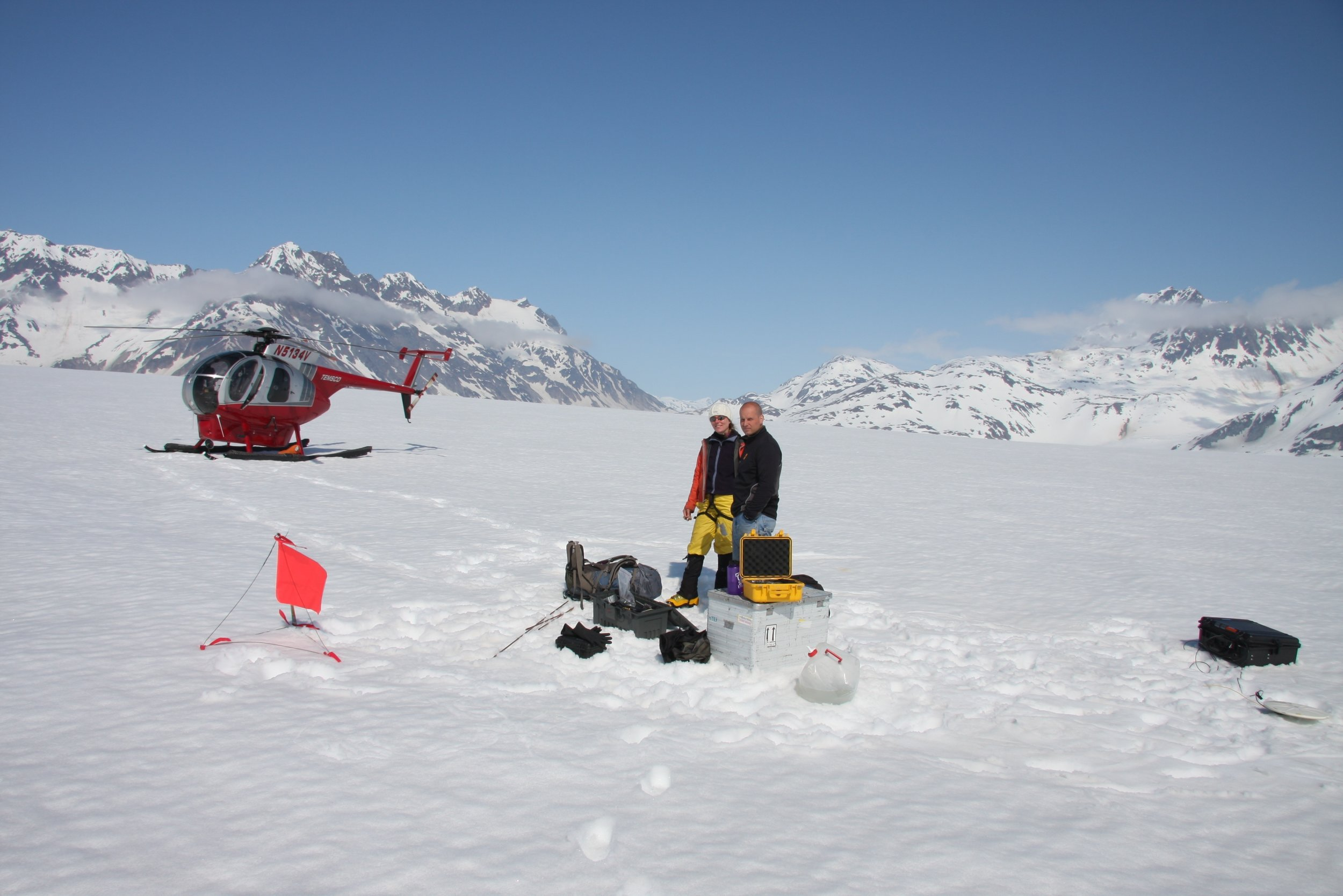 Barbara Truessel and Andy the Heli Pilot at the Mass Balance site.