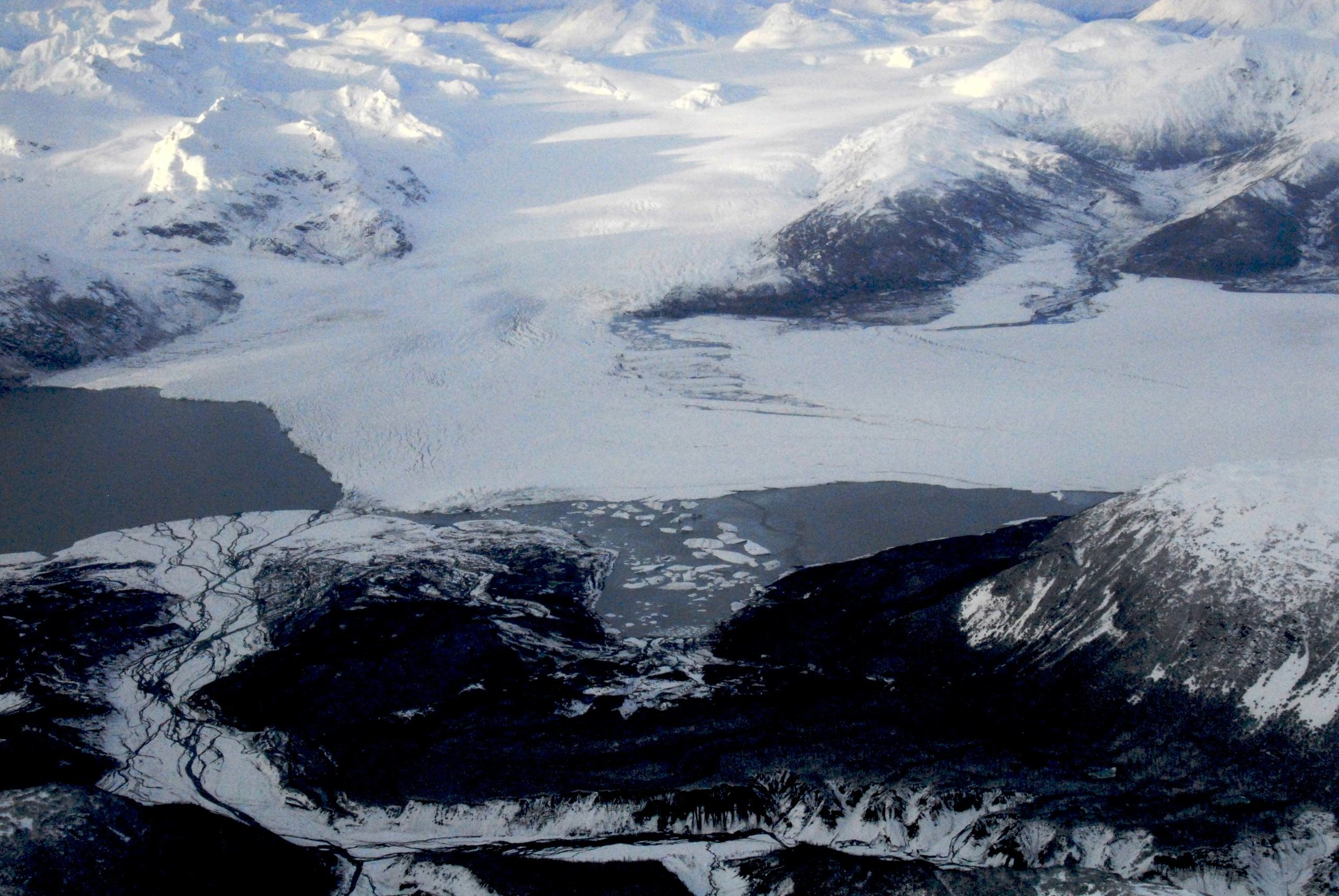 Aerial photo of the glacial terminus by Chris Larsen