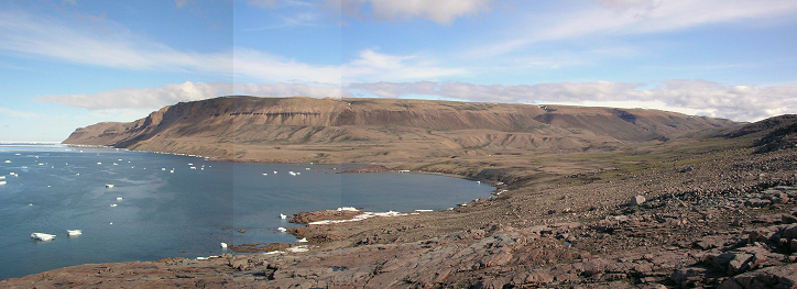 Panoramic view of Force Bay looking northeast in 2004. This area was surveyed for archeological features in 2004 and revisited in 2008 (on the east side--the river was uncrossable by foot in 2008). Cape Grinnell is the farthest point of land at center, left.