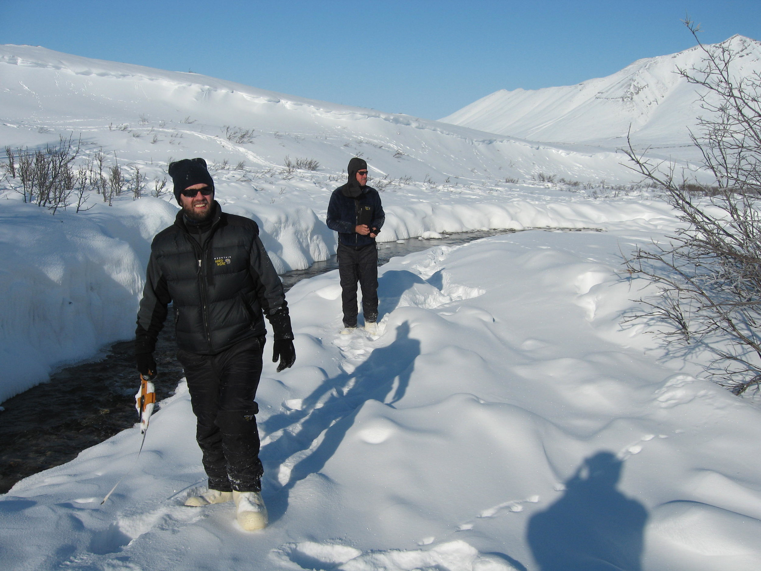 Co-PI Johnathan Benstead (right) and Alex Huryn work along the Ivishak during an early season visit in 2007.