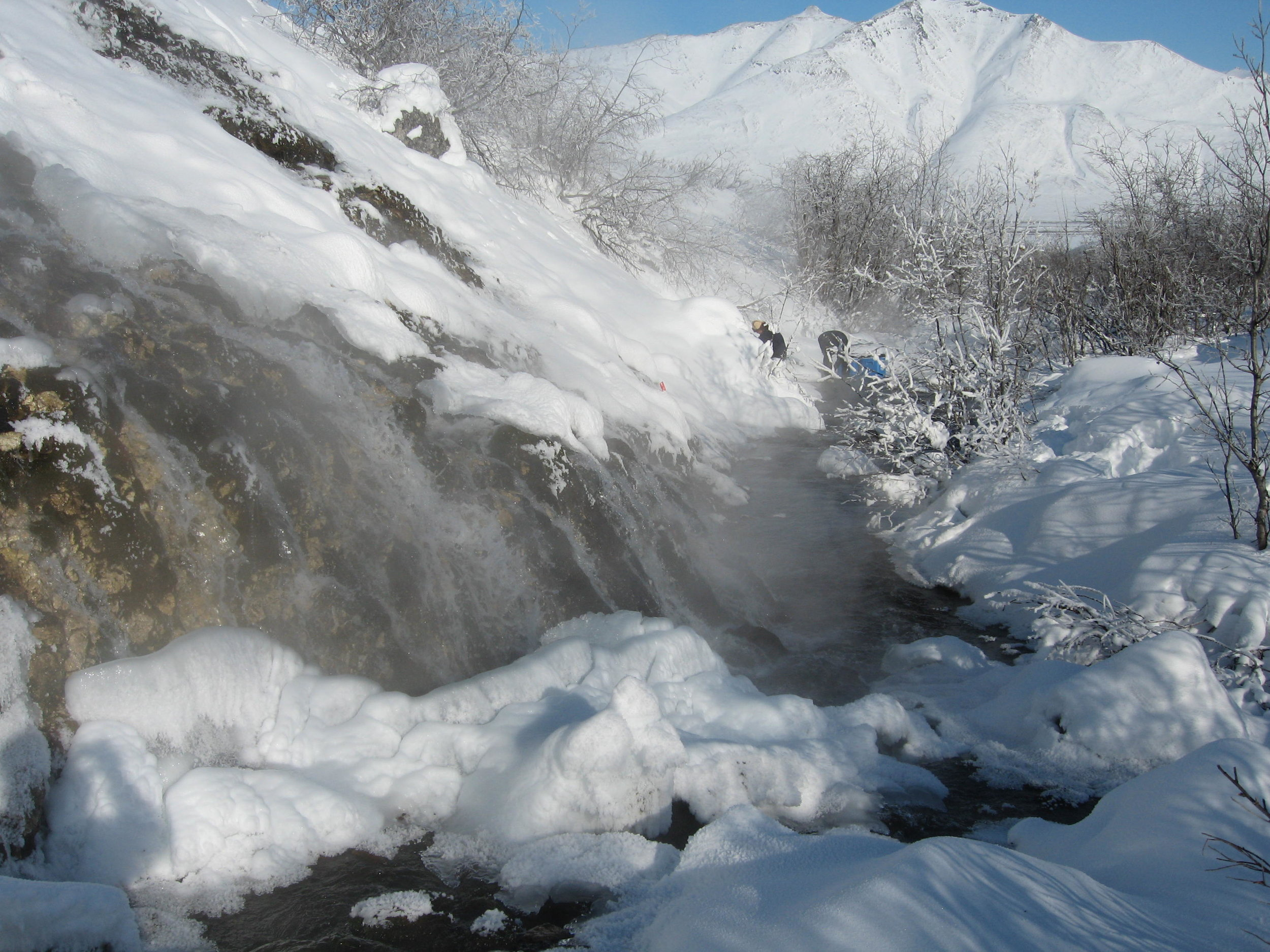 Alaska's Ivishak Hot Spring, which flows year-round was the site of a three-year study of ecosystem dynamics in a perennial spring. Photo by Matt Irinaga