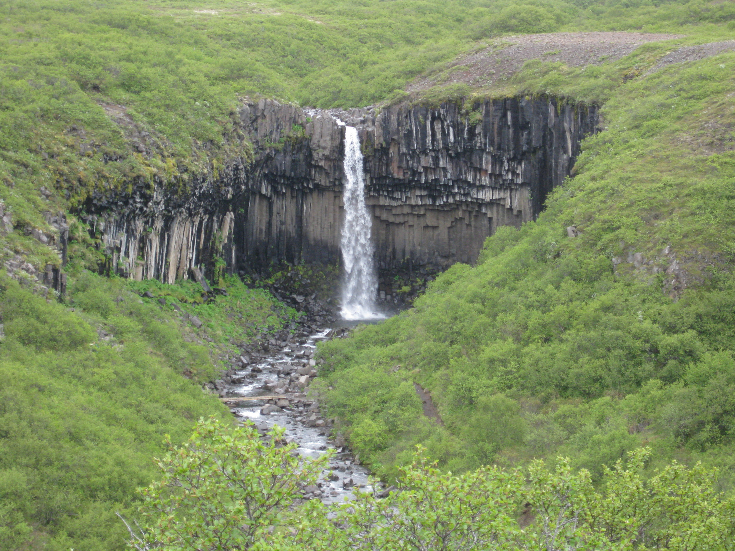 The Svartifoss waterfall spills over columnar basalt in Vatnajokull National Park.