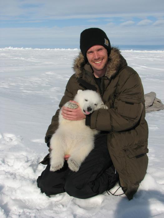 PhD student John Whiteman (U Wyoming) and polar bear cub. Photos courtesy John Whiteman for Exploratorium