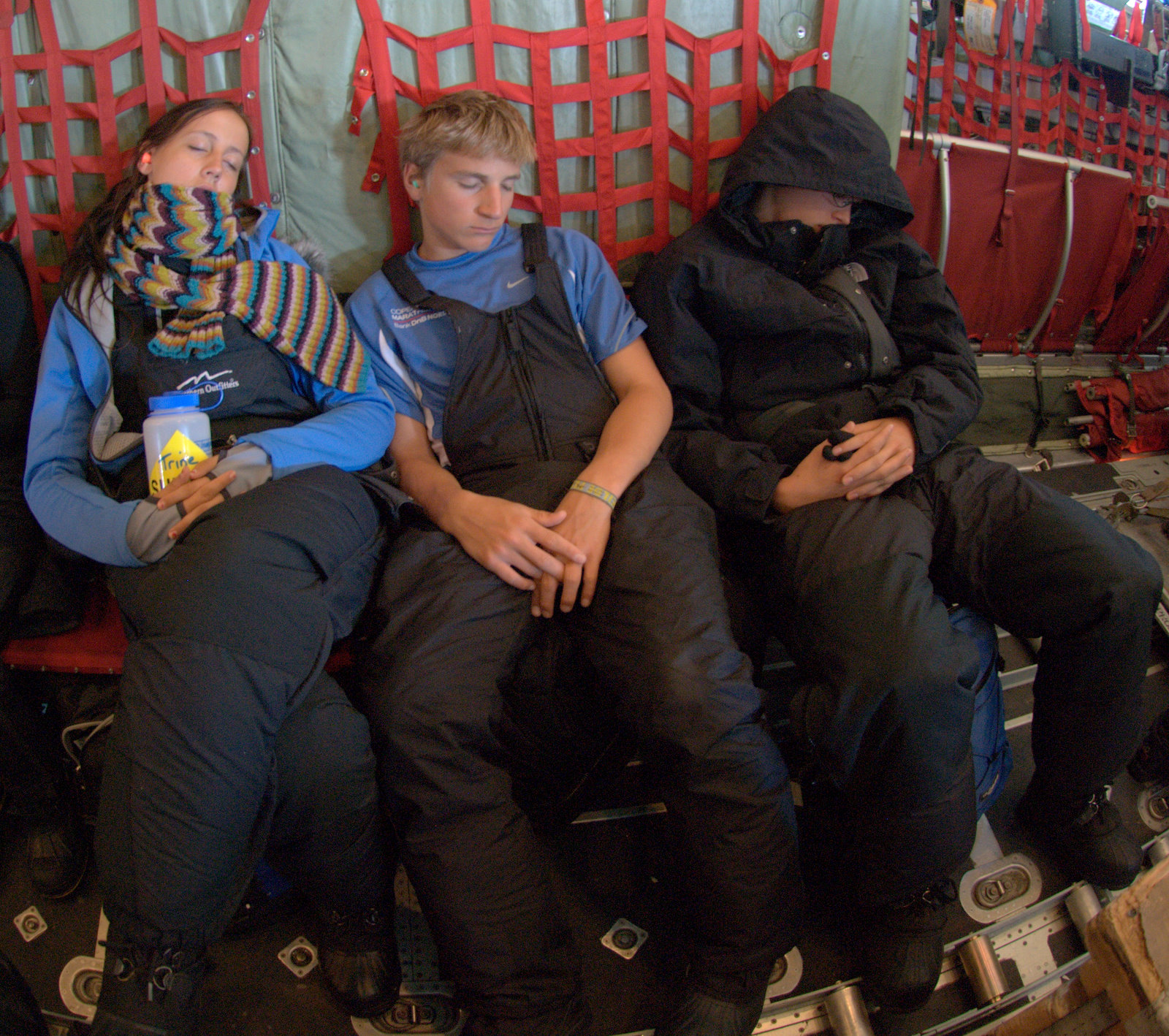 Danish students (L-R) Trine Madsen, Davis Thing, and Sam Hansen return to Kangerlussuaq after an eventful four days at Summit.