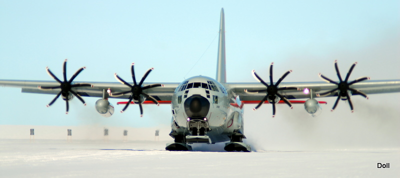 An LC-130 equipped with special 8-blade NP2000 propellers visits Summit Station, Greenland. Test flights such as this one suggest the 8-blade propellers will allow these cargo planes to take off on skis with much heavier cargo loads than do the standard 4-blade propellers. Photo: Mark Doll, USAF
