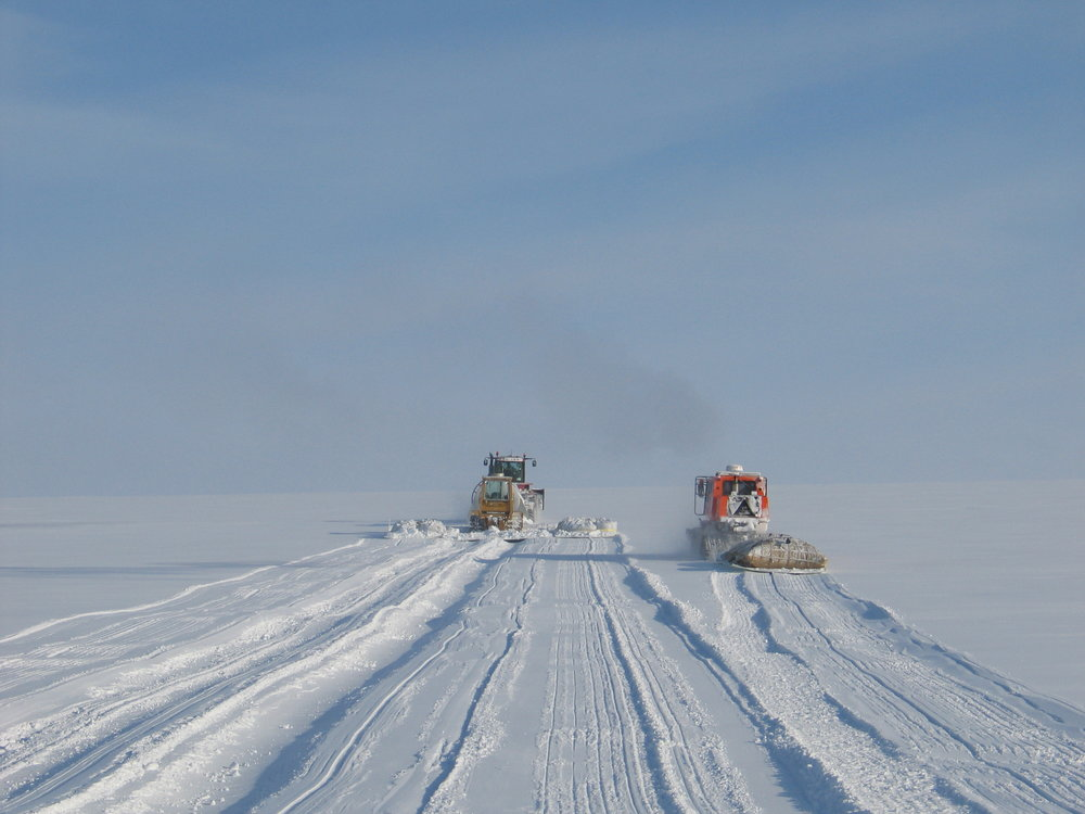 Crews test sled configurations and towing capability for Greenland Inland Traverse (GrIT) last spring before the opening of Summit Station. Pending funding from the National Science Foundation, a summer 2010 inland traverse will travel from Thule to Summit Station. Photo Jay Burnside