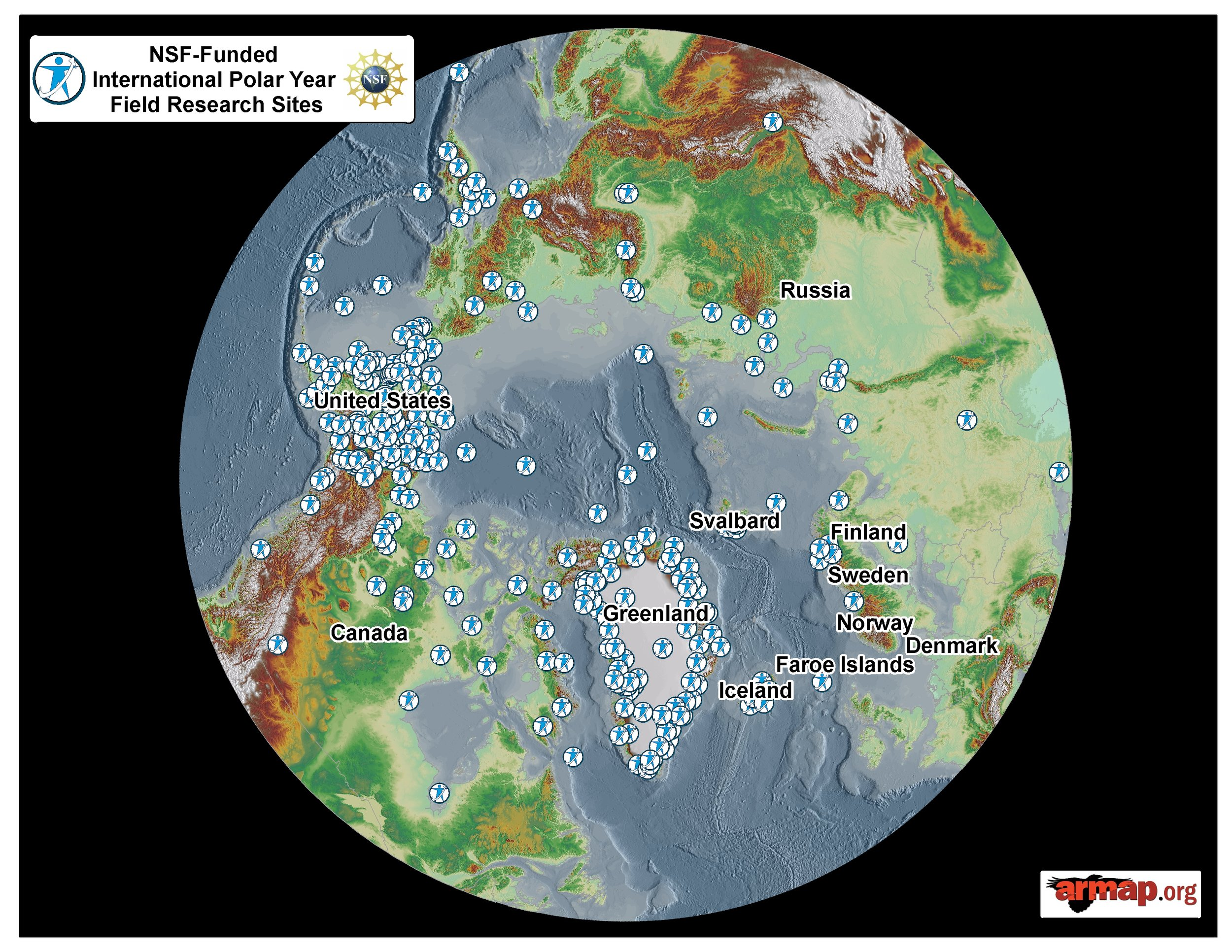 Dr. Erb presented this ARMAP image showing the location of NSF-funded International Polar Year research at a recent Greenland conference. Source: ARMAP