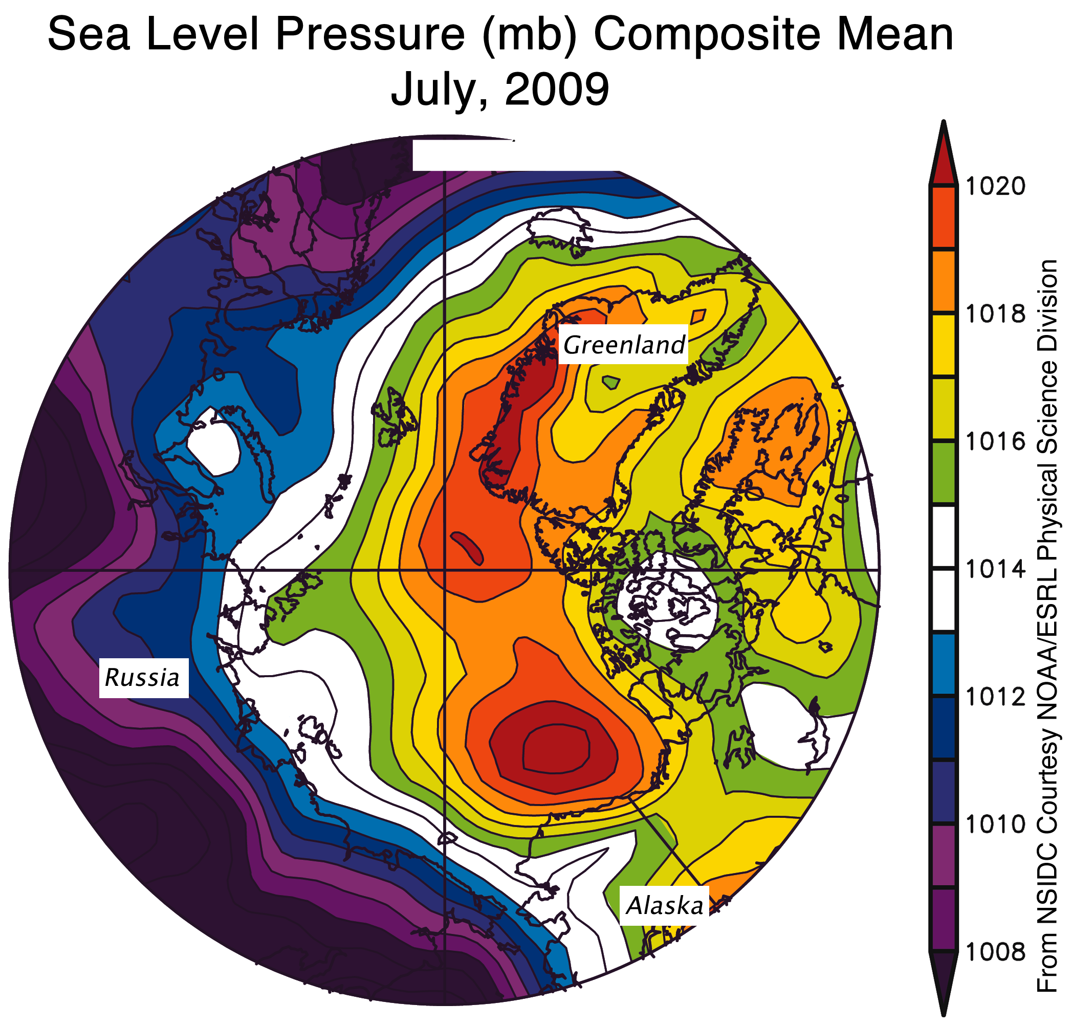 The map of sea level pressure (in millibars) from July 1 to 31, 2009, shows a strong high-pressure cell over the Beaufort Sea. In 2007, a similar high-pressure cell, combined with unusually low pressure over eastern Siberia, contributed to the record melt. Source: NSIDC