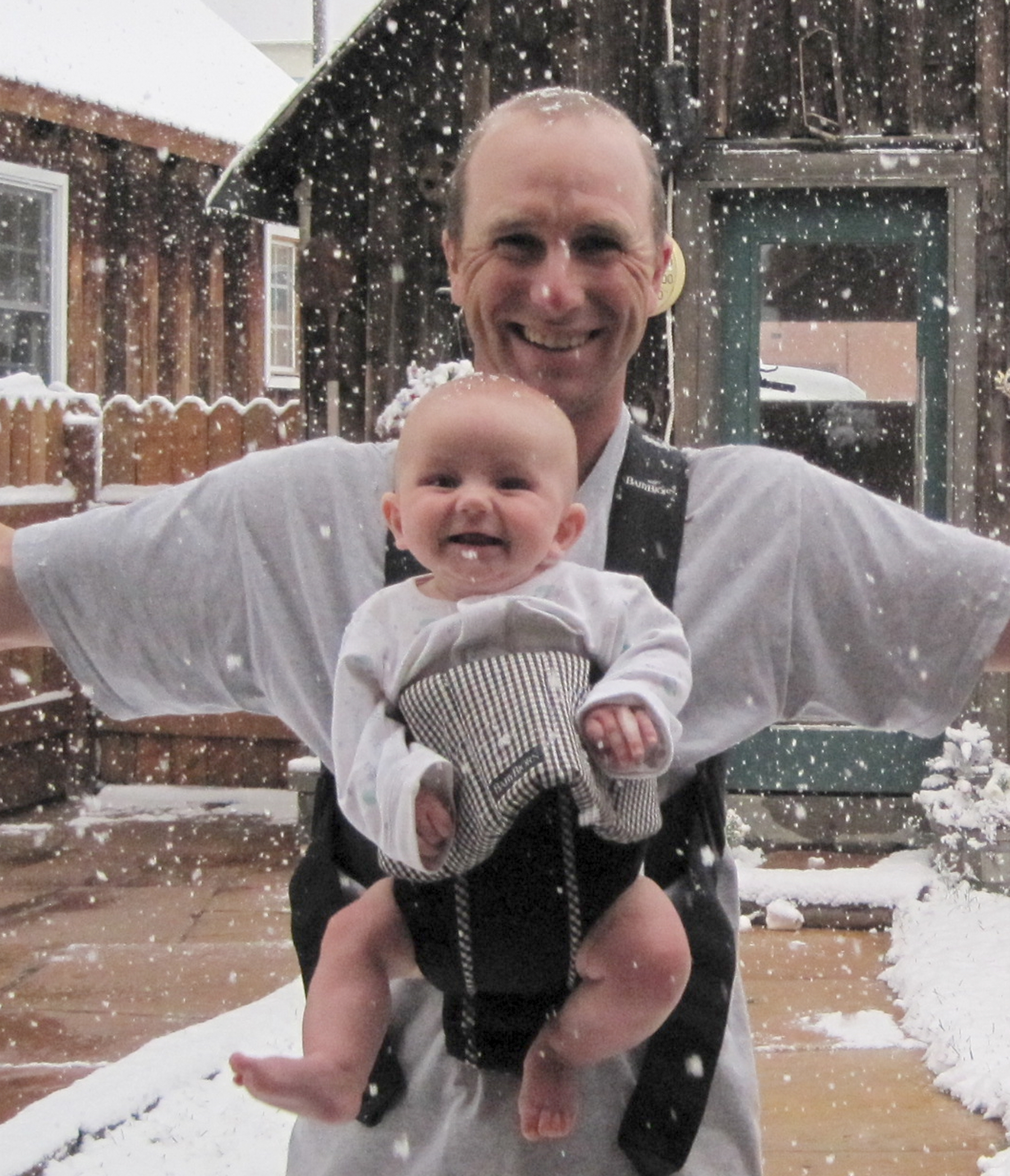 Cash Littrell, not yet four months, reacts to his first exposure of arctic-influenced weather, which brought the season's first snowfall to Crested Butte, Colorado, on 21 September. Photo: Karla College