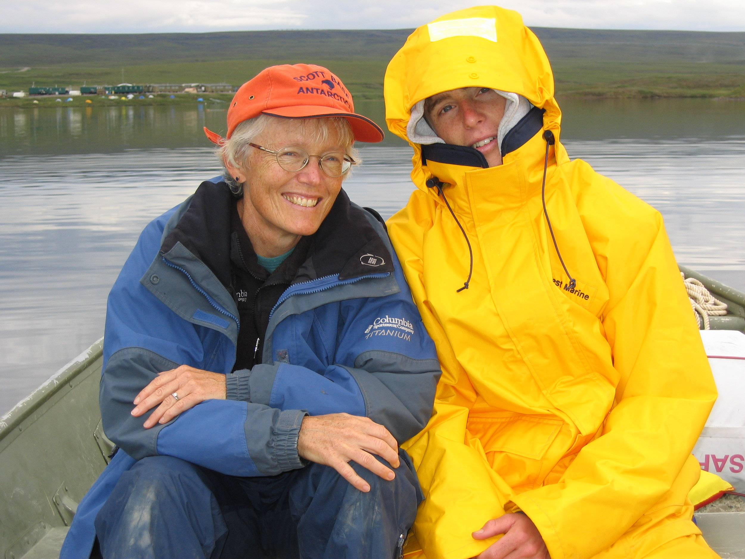 Sally MacIntyre and her son, Johnny Melack, on Toolik Lake in 2003 when Johnny came to help his mom with her research.