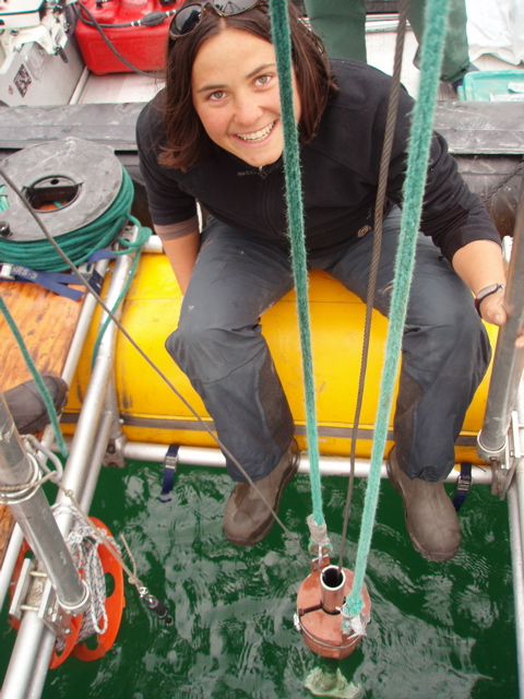 Grad student Heidi Roop (U Northern Arizona) in the port of Darrell Kaufman's lake sediment coring rig. Photo from Darrell Kaufman's 2007 gallery