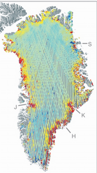 Red dots indicate hot spots where glaciers have accelerated. Click the image to see the original, which shows antarctic hot spots as well.