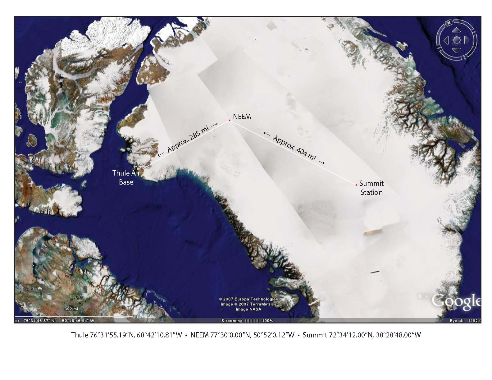 The 2008 ice route from Thule Air Base to Summit Station, with a fuel-delivery stop at NEEM, the international, deep ice-core drilling camp.