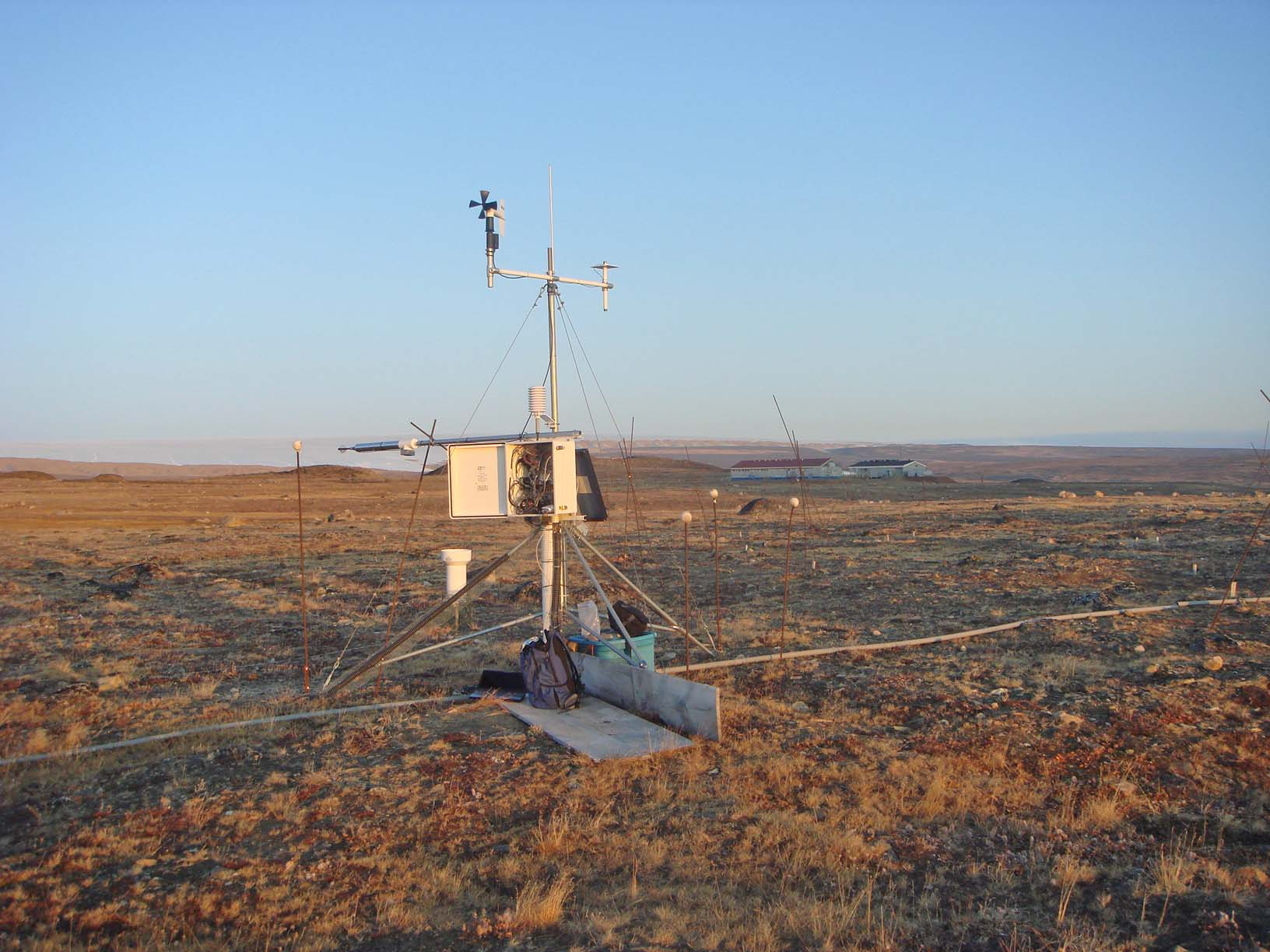 This weather station near Thule air base monitors/collects a slew of climatic information used by ITEX researchers: temperature, air pressure, wind speed/direction, humidity, precipitation, etc.