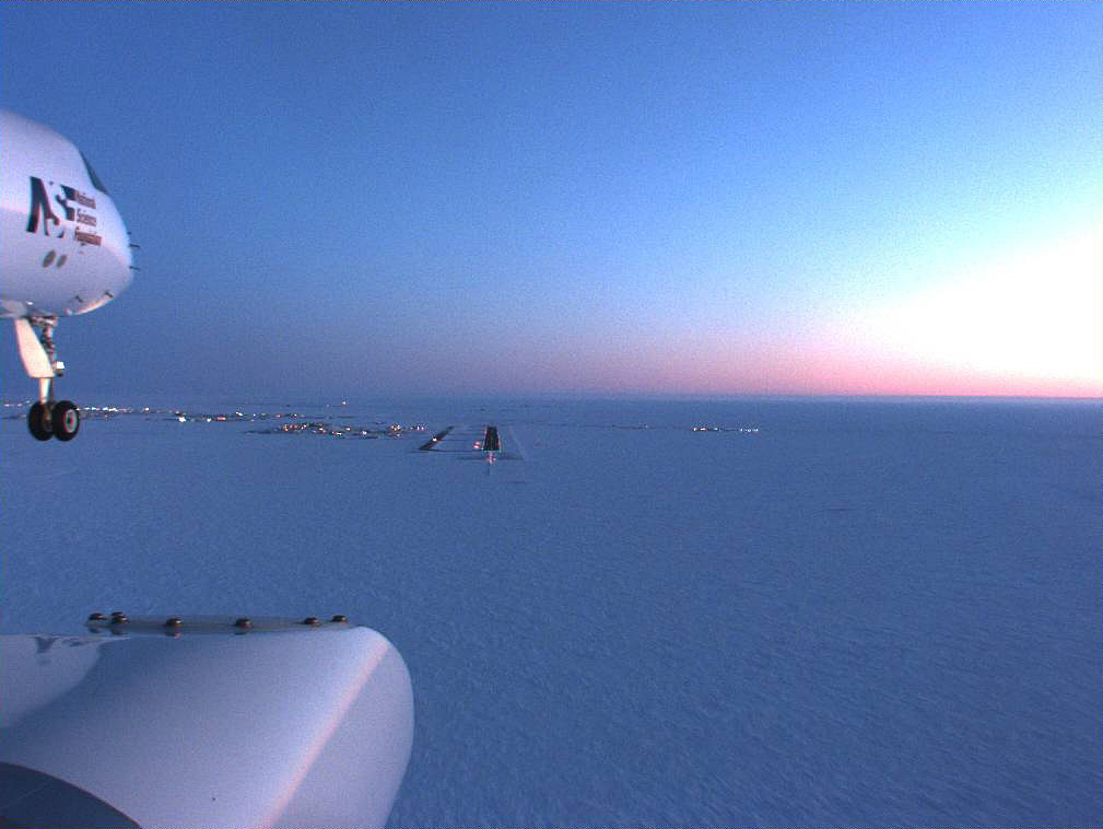 Bird's eye view: Looking down as the GV descends during the January 2009 expedition onto a snowy runway. Photo: Courtesy UCAR