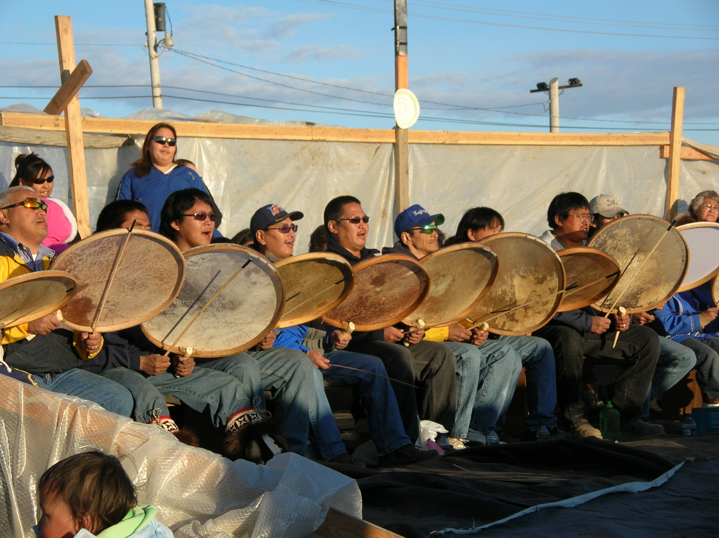 Dancers re-enacting the 1946 songs at Nalukataq (Whale Feast), June 2008. Photo: Chie Sakakibara)