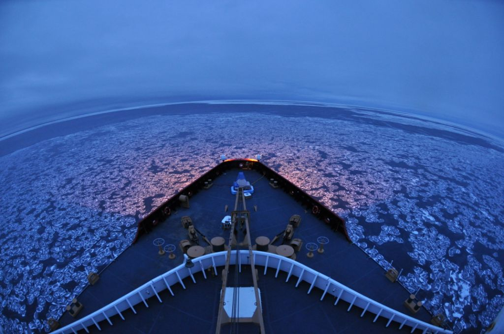 US Coast Guard Cutter Polar Sea navigates pancake ice in the Arctic Ocean.