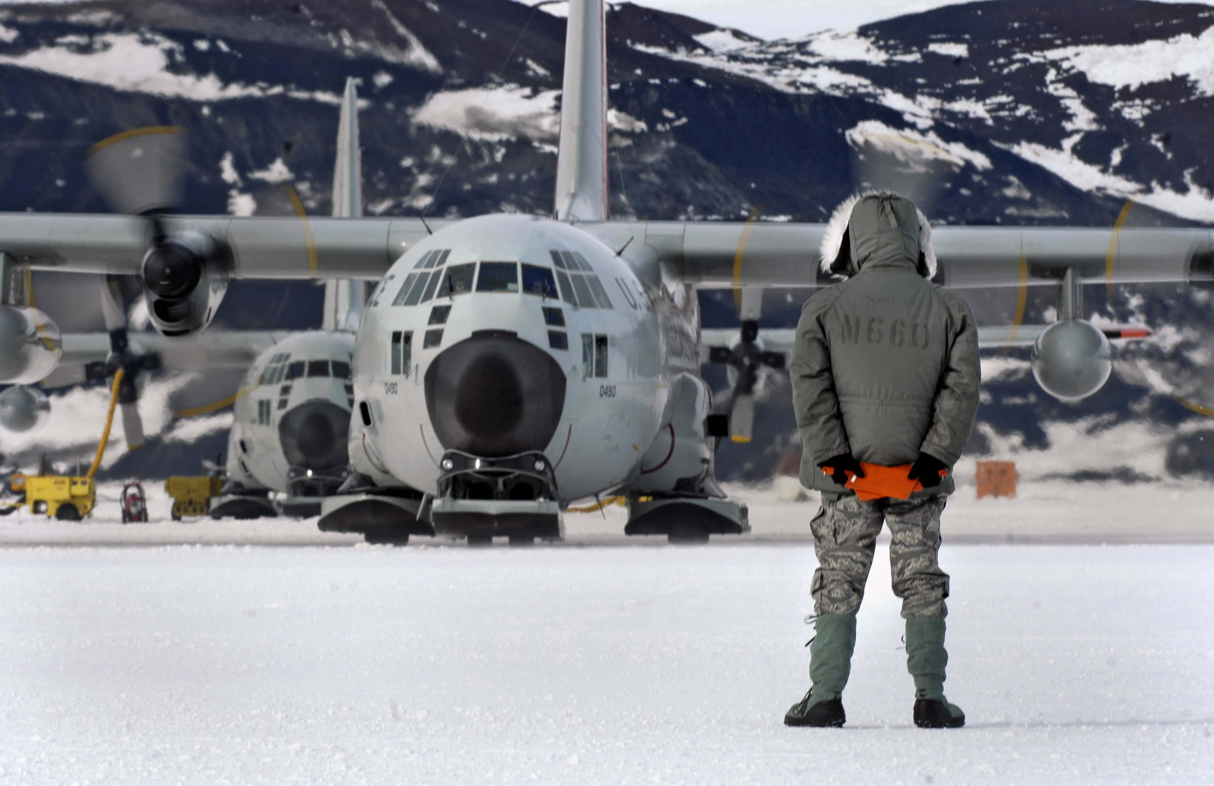 On the sea-ice runway at McMurdo Station, Antarctica, where the unit supports the NSF's antarctic research. Photo courtesy ANG 109th