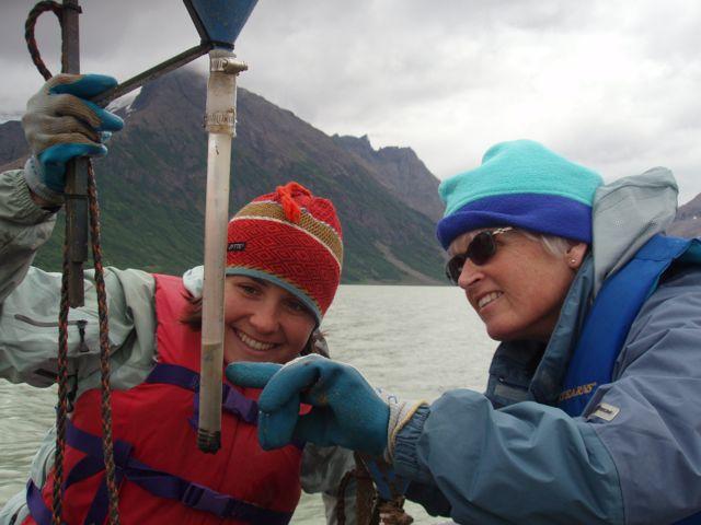 Examining sediment trap, Casacade Lake