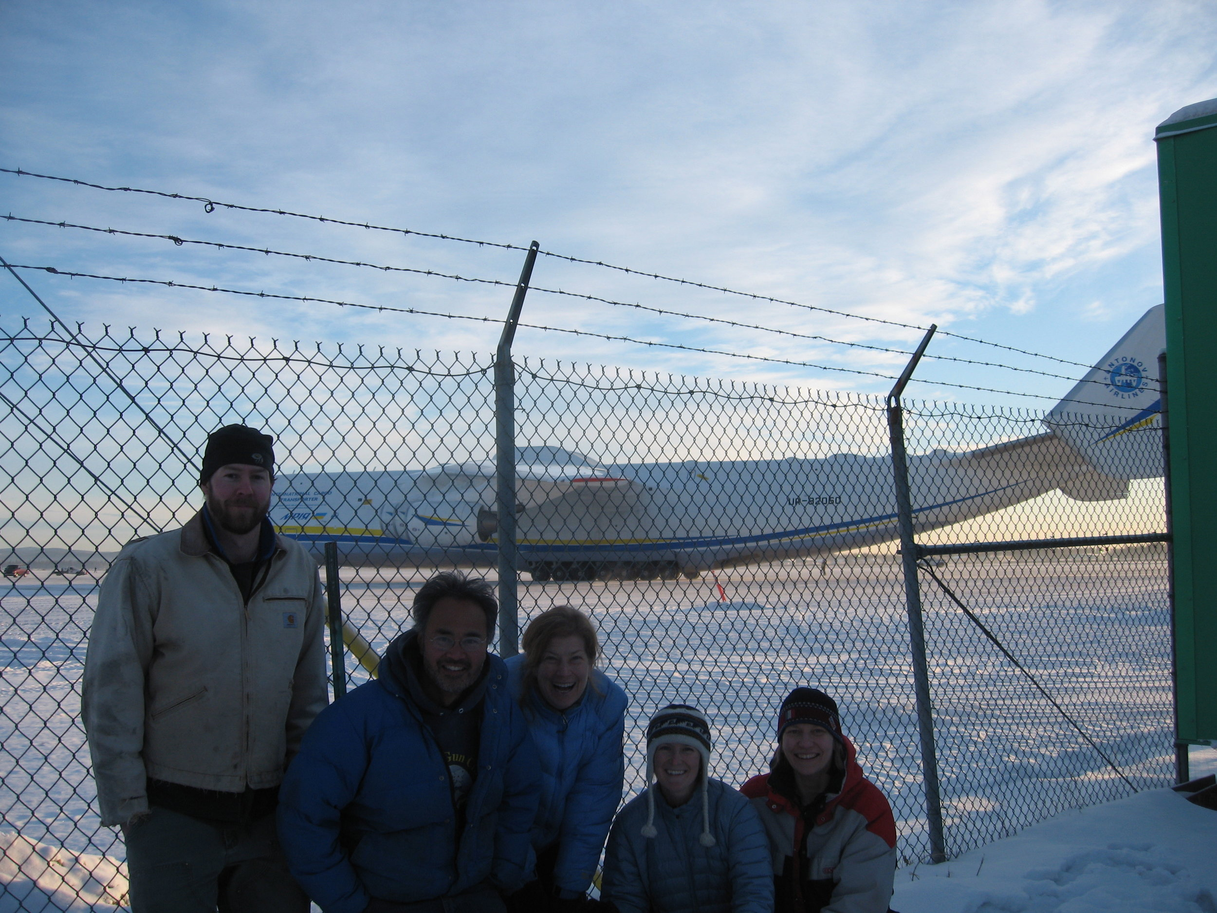 From left: Matt Irinaga, Dana Moudra Truffer, Christie Haupert, Marin Kuizenga, Erik Lund and Dana Coda meet the world's biggest plane. Photo: Marin Kuizenga