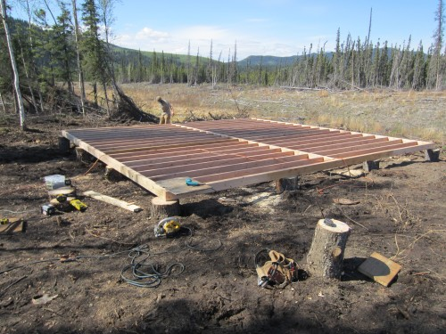 Framing up the 24 sq.ft deck for the new Western Shelter science lab. David Archaeoligical camp-Calico Bluff-Yukon River.