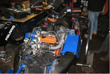 SUNY-Buffalo managed to shoehorn a three cylinder diesel engine into their snowmobile chassis. It was remarkably clean and quiet for a diesel. All photos: Tracy Dahl