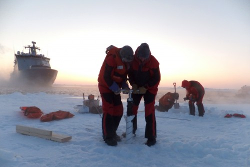 Sea ice characterizations in Fram Strait, the gateway to the Arctic between Svalbard and Greenland. This work was part of a ColdTech expedition on board KV Svalbard in 2012. Photo: Denise Sudom, National Research Council Canada