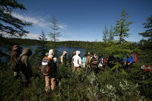Students from the 2011 Polaris Project field season gather for their first day of data collection in the Siberian Arctic. Photo: Jorien Vonk.