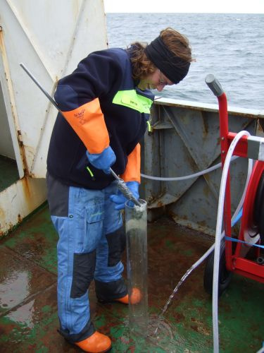 Busy prepping sediment cores during her 2008 voyage on a Russian ship in the East Siberian Sea.