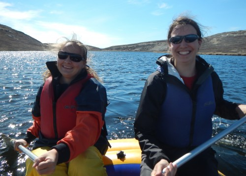 Several graduate students are participating in data collection in Greenland … and they are all smiles!