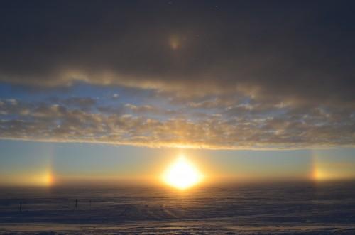 A sundog forms as the sun sets. Photo: shawntel stapleton