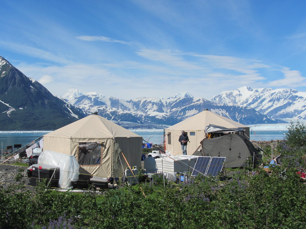 A custom-built solar array provided electrical power to the base camp, eliminating the need for a gasoline-powered generator in this protected wilderness area. Disenchantment Bay, 2013. Photo: Mark Luttrell