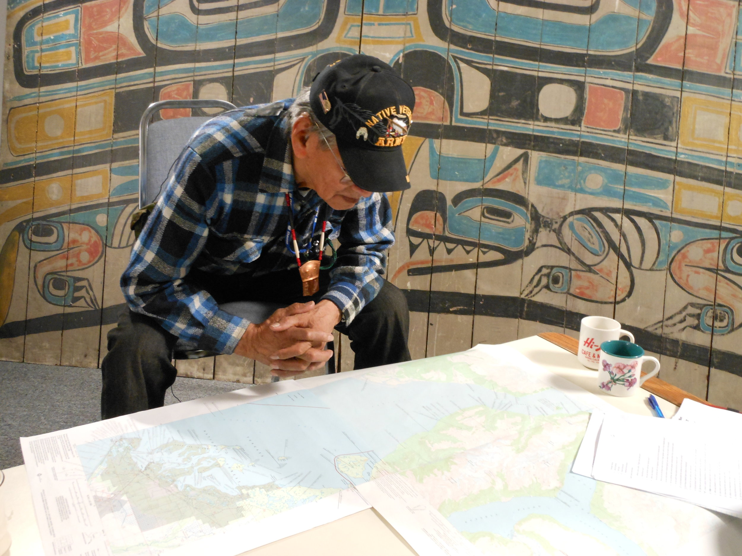 An oral history interview with George Ramos Sr., Tlingit elder and project advisor, about the names and locations of traditional seal camps. Yakutat, 2011. Photo: Aron Crowell