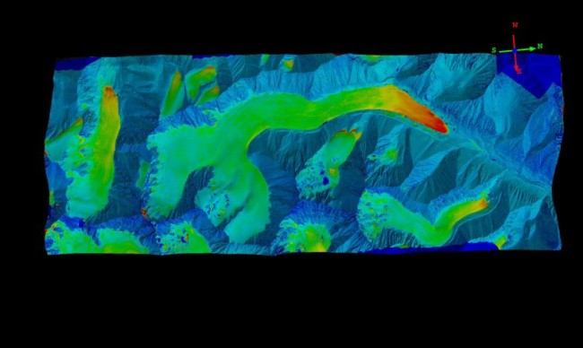 Here Nolan subtracted a 2008 lidar map from his 2013 photogrammetry of McCall Glacier. The light blue color indicates little change and is mostly mountain. The reds indicate the most change (about 15m) and are found near the glacier termini. See more at: http://www.drmattnolan.org/photography/2013/