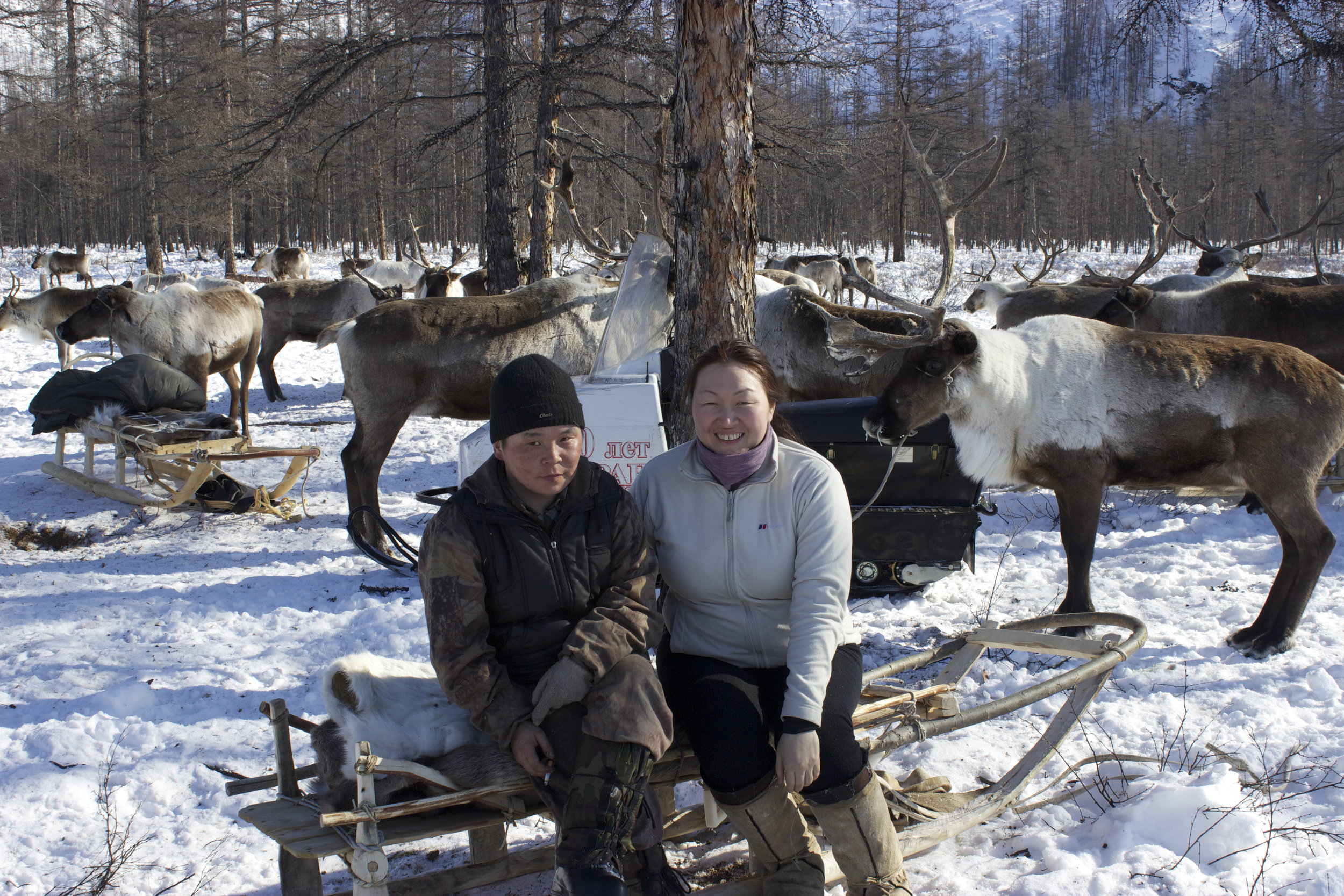 Olga Ulturgasheva with an Eveny reindeer herder participant at camp.jpg. Photo: Stacy Rasmus