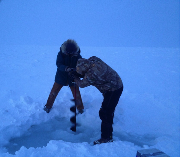 Brandon Hassett and bear guard Michael Donovan use an ice agar on the Barrow fast ice.  Multiple holes are drilled adjacently so a sediment grab can be deployed through the ice. Photo: Kyle Dilliplaine