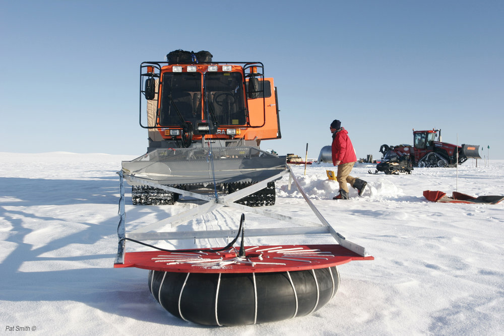 The Tucker pushes a ground-penetrating radar unit on a boom, which detects disturbances in the ice below. Photo: Pat Smith